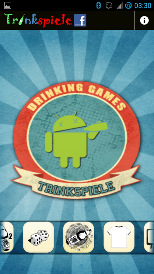 Trinkspiele App Android Start screen